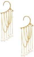 Ayesha Fashion Edgy And Cool, This Statement Ear Cuff Is Embellished With Long Dainty Hanging Chains And Small White Pearls For An Effortlessly Stylish Look. Features A Gold-tone Ear Wrap Metal Cuff Earring
