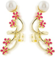 Hedoneesta Pink Floral Carvings Yellow Gold Plated Metal Cuff Earring