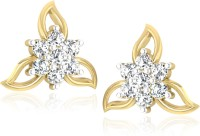 Forevercarat Daisy Petals 14K Yellow Gold Plated Diamond Silver Stud Earring
