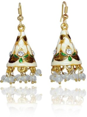 Jaipur Mart Sweet & Small Shanku Style Jaipuri Meenakari White Silver Plated Brass Dangle Earring