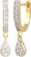 Affinity Beautiful Bali 22K Yellow Gold Plated Cubic Zirconia Alloy, Silver Clip-on Earring