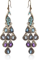 Cinderella Collection By Shining Diva Purple & Blue Stone Peacock Alloy Dangle Earring