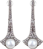 Oomph Silver & White Crystal & Pearl Fashion Jewellery For Women, Girls & Ladies Metal Drop Earring