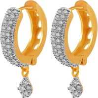 American Diamond Beautiful 18K Yellow Gold, Rhodium Plated Cubic Zirconia, Onyx Copper, Brass Hoop Earring
