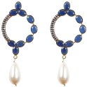Rajwada Arts Fancy Gold Plated With Blue Stone And American Diamond Brass Drop Earring
