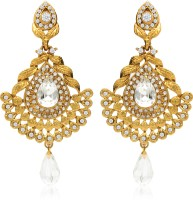 Donna Designer Yellow Gold Plated Crystal Alloy Drop Earring