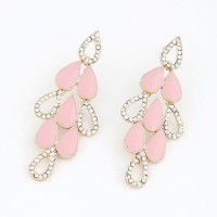 Cinderella Collection By Shining Diva Golden & Light Pink Crystal Alloy Chandelier Earring