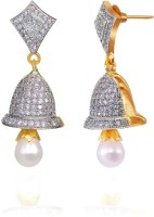 Alysa Ananya 18K Yellow Gold, Rhodium Plated Cubic Zirconia Brass, Alloy, Silver Jhumki Earring