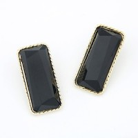 Cinderella Collection By Shining Diva Black & Golden Alloy Stud Earring