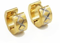 Vaishnavi First Quality Korean Made Bold Size Heavy 24kt Gold Coated Shining Beautifuly Laser Cut Shining Star Design Unisex Long Lasting 316l Surgical Stainless Steel Huggie Earring