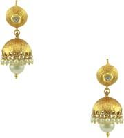 Orniza Polki Earrings In Pearl Color And Golden Polish Brass Jhumki Earring
