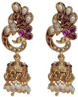 ACW Peacock Jhumka With Pearl And Purple Stones Metal Jhumki Earring