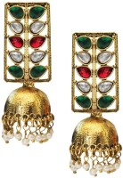 Beingwomen Elegant Gold Plated Kundan Studded Fashion Yellow Gold Plated Alloy Jhumki Earring