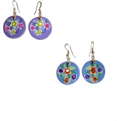 Women Trendz Women Trendz Sky Blue Purple Rhodium Polish Metal Earring Set (Multicolor)