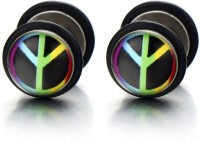 Vaishnavi First Quality Korean Made Peace Design Pair Of Dumbel Made Of 316l Stainless Steel Stud Earring
