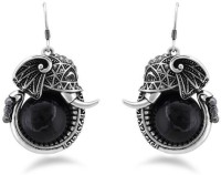 Jazz Jewellery Simple Ganesh Design Black Colour Earrings Alloy Drop Earring