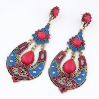 Cinderella Collection By Shining Diva Golden & Pink Coloured Bead Alloy Chandelier Earring