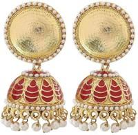 The Jewelbox Antique Meenakari Pearl Copper Jhumki Earring