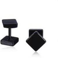 Vaishnavi First Quality Korean Made 8mm Non-Allergic Tungsten Square Shape Stainless Steel Stud Earring