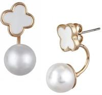 Aaishwarya Pearly And White Clover Ear Jackets Alloy Stud Earring