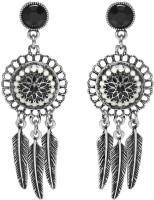 Jewelz Black Silver Oxidised Metal Drop Earring