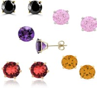Rubena Super Deal Coloured Round Stud 23K Yellow Gold Plated Cubic Zirconia Alloy Earring Set