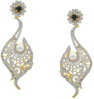 Pearls Cart Ad Stone Studded Peacock Theme Style Alloy Drop Earring - ERGEDKRQGKGNECQJ