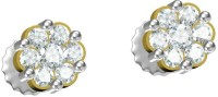 Dazzle Jewels Spring Sparkle 18K Yellow Gold Plated 18 K Diamond Gold Stud Earring