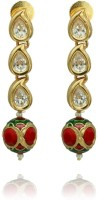 Siyora Siyora Red Gold Plated Earrings Yellow Gold Cubic Zirconia Brass Drop Earring