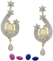 Pearls Cart Ad Stone Studded Peacock Theme Style Alloy Drop Earring - ERGEDKRQB3RNCCUM