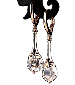 Kundaan Drop Zircon Rose Gold Polish Zircon Alloy Drop Earring