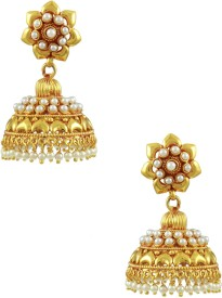The Art Jewellery Floral Pearl Brass Jhumki Earring