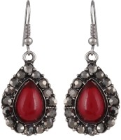 Anamis Antique Look Pan Shape With Stones, Red Colour -Traditional Cum Fashionable AMFJEP008 Aluminum Dangle Earring