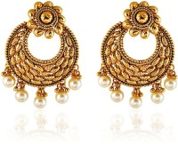 Amroha Crafts Rococo Pearl Blush Antique Copper Chandbali Earring