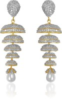 American Diamond Beautiful 18K Yellow Gold, Rhodium Plated Cubic Zirconia, Diamond Copper Drop Earring
