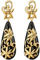 Oomph Black And Gold Metal Drop Earring