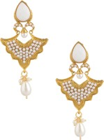 Voylla Pair Of Gold Plated Earrings Adorned With White Color Stone And Pearls Yellow Gold Plated Pearl Alloy Drop Earring