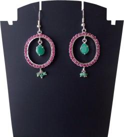 Rasianve Precious Jewellery RO1268 Ruby, Emerald Silver Dangle Earring