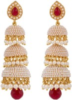 Rajwada Arts Three Tier Pearls And Red Stones 18K Yellow Gold Plated Brass Jhumki Earring