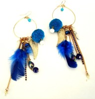 Purple Pink Feather & Pompom Blue Long Hoop Dangler Earring Zircon Metal Dangle Earring, Drop Earring