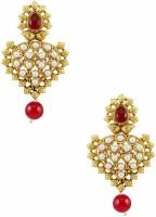 Orniza Rajwadi Earrings In Ruby Color With Golden Polish Brass Drop Earring