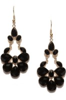 Toniq Black Floral Metal Dangle Earring