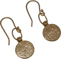 Arvino Classic Turkish Coin Yellow Gold Plated Brass Dangle Earring