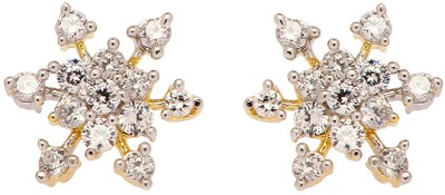 Copper Rays 22K Yellow Gold 8 K Cubic Zirconia Brass, Copper Stud Earring