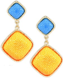 Karatcart Square Textured Zinc, Alloy Drop Earring