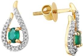 Shuddhi Designer Yellow Gold 14kt Diamond Stud Earring