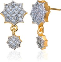 Alysa Aaloka 18K Yellow Gold, Rhodium Plated Cubic Zirconia Brass, Alloy, Silver Drop Earring