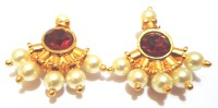 Aahana Creations Aahana Creations Anchor Of Pearl Red Stone Yellow Gold Alloy Stud Earring