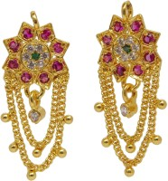 Asha Ambe Ornaments Star Sparkle Yellow Gold Plated Alloy Drop Earring
