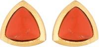Voylla Artifictial Classic Plain Yellow Gold Crystal Metal Stud Earring